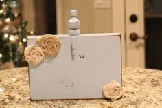 wooden block picture frame with burlap