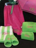 Monogrammed pink and green bath gear from The Little Exchange!