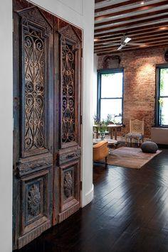 interior design, the doors, feng shui, salvaged doors, loft, exposed brick, old doors, wood doors, antique doors