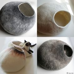 Custom felted Cat Bed - Hand Felted Wool Cat Bed / Vessel - Crisp Contemporary Design. $59.00, via Etsy.