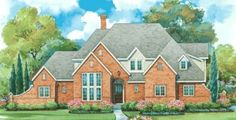 English Country Style House Plans - 3067 Square Foot Home , 2 Story, 4 Bedroom and 3 Bath, 3 Garage Stalls by Monster House Plans - Plan 10-1283