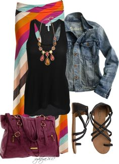 Have the jean jacket, black tank and sandles.  Need a colourful maxi skirt.  I have a plain grey one...