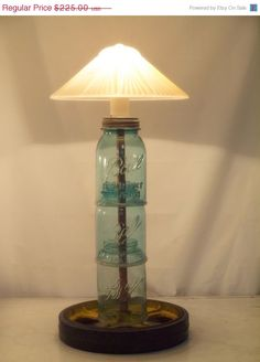 Repurposed Mason Jar Lamp Industrial Lighting - love this but it needs a bigger shade to look more proportioned.