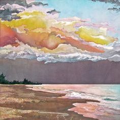 Sunset at Manasota Beach raw edge pieced quilt inspired by a photo taken on Midsummers Eve. by Nancy Messier