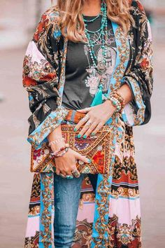 Elegant Floral Pattern Printed Long Sleeve Cardigan