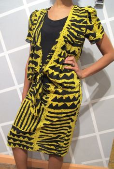 Yellow and Black Geometric Drop waist 80s Dress by Kokorokoko, $38.00