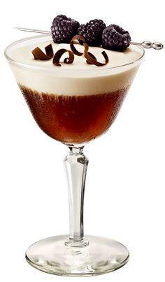 Parisian Sunrise (1 ½ oz Chambord  Flavored Vodka, ¼ oz Chambord  Liqueur, ¾ oz Coffee Liqueur, ½ oz Vermouth, ½ oz Espresso, Chambord Liqueur-Laced Heavy Whipping Cream)