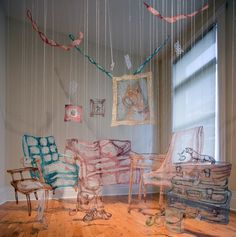 Amanda McCavour's Hanging Thread Illustrations Created From Soluble Fabric