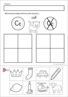 MEGA Math & Literacy Worksheets & Activities - Down on the Farm. 100 Pages in total!! A page from the unit: Beginning sounds.