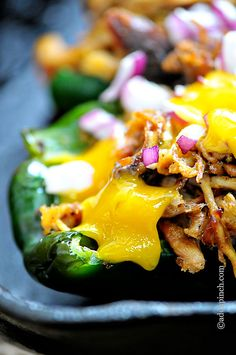 Pulled Pork Stuffed Poblano Peppers Recipe - Cooking | Add a Pinch | Robyn Stone