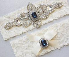Best Seller - CHLOE II - Sapphire Blue Wedding Garter Set, Wedding Ivory Lace Garter, Rhinestone Crystal Bridal Garters, Something Blue on Etsy, $34.95