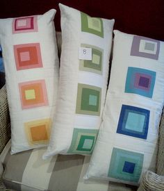 Fun Kona Solids Challenge pillows by Brooke Johnsen of Pitter Putter Stitch.