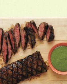 Cilantro-Buttermilk Skirt Steak Recipe- This was awesome! I used shallots instead of scallions which worked really well. Also, I substituted flank steak because my grocery didn't have skirt steak. I made this for a party and tripled the recipe and it was ALL gone by the end!