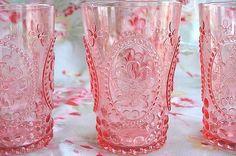 glasses, pink glass, shabby chic, vintage pink, drink, kitchen, pink lemonade, shabby vintage, colored glass