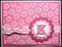 handmade monogram card ... monochromatic pinks ... luv the subtly printed paper i in pinks ...