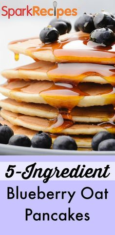 Runner's Oatmeal Blueberry Pancakes Recipe: I made these for myself and my five year old daughter (tough critic!). She LOVED them and said YUMMY the entire time she was eating.  | via @SparkPeople #food #breakfast #brunch #healthy #oat #nutrition