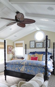 bedroom of a Nantucket inspired home