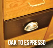 Super Easy: Oak to Espresso Cabinets Tutorial #DIY #Home Cabinet Staining Project