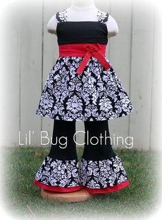Custom Boutique Christmas Damask Jumper Top and Pant Set Girl Pageant Holiday  Outfit. $49.99, via Etsy.