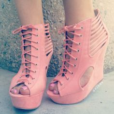 Shutter Up Lace-Up Bootie Wedges