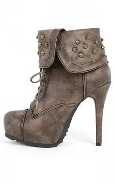 Paprika Swamp-h Spiked Cuff Ankle Boots TAUPE