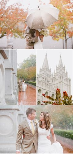 Making rain on your wedding day beautiful! Good idea to get a cute color coordinated umbrella JUST IN CASE!