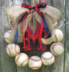 Monogram Baseball Love Wreath with Burlap and Ribbon