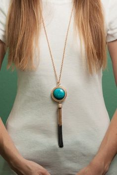 Don't Hassle My Tassel Necklace, Peacock Plume