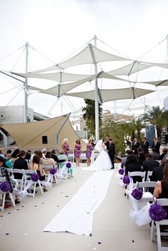 Wedding under the sails! Downtown Mesa rooftop wedding,  Click through to read the blog on this wedding; including reception, rehearsal dinner, and ceremony location. @Mesa Arts Center