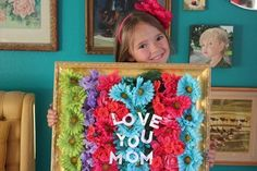 Mother's Day Framed Bouquet Craft Gift by Brenda Ponnay for Alphamom.com #mothersday #mothersdaygift #mothersdaycraft #diygift #kidscraft #craftgift #craftswithkids #freeprintable