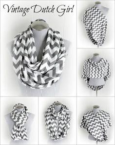 Gray Chevron Breastfeeding Infinity Scarf, Grey and White Chevron Jersey Knit Loop Scarf, Nursing Scarf on Etsy, $21.99