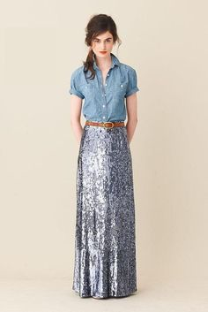 sparkly skirt and chambray