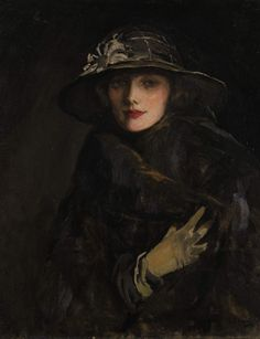 'A Lady in Brown' (1920) by John Lavery (1856-1941). Oil on canvas. 76.5 x 64 cm (30.25 x 25.25 in). Signed 'J. Lavery' (lower right), signed and dated on reverse. Last recorded location: Sotheby's auction. The Irish Sale, Mar. 2011, London, England. Lot 8. Hammer price plus premium: GBP 121,250/USD 192,411/EUR 146,935 // See also: http://tinyurl.com/75zofwl // Found by @RandomMagicTour     (http://tinyurl.com/7c3hqej) - Sasha Soren - Book trailer: http://tinyurl.com/yl26xwa