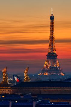 Eiffel Tower, sunset in Paris, France.