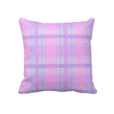 Trendy, classic and whimsical pillow. Beautiful soft pastel pink, lavender violet and light purple plaid tartan design. Colorful, funky and modern deco pattern. Vintage retro style motif for the hip fashionista, the fashion trend setter, or abstract grunge decor lover. Cute and fun birthday present or Christmas gift. Classy and chic pillow for the master or children's bedroom, college dorm, nursery, living or family room, log cabin, RV, boat, beach house, country cottage or vacation home.
