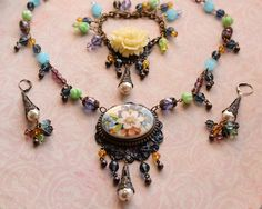 Floral Vintage Style Boho Parure Purples Blues Greens Necklace Bracelet Earrings Set by Renee Hong of jewelryfineanddandy; submitted for the September Parure Challenge.