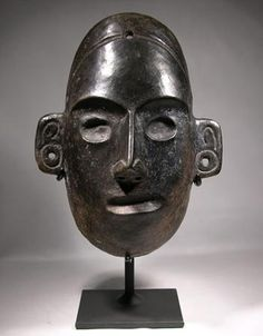 Colima blackware mask display stand.