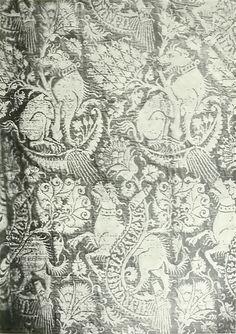 Italian woven silk textile design produced in the 16th century.