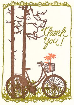 Bicycle with Flowers  Letterpress Thank You by OldSchoolStationers, $18.00