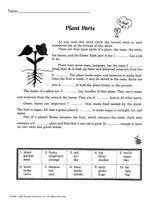 Plant Parts Reading Passage -- Complete the  sentences using the word bank.