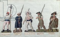 Credit: A Sans Culotte with his Pike, a Carter, a Market Porter, a Cobbler and a Carpenter (gouache on card), Lesueur Brothers, (18th century) / Musee de la Ville de Paris, Musee Carnavalet, Paris, France / Giraudon / The Bridgeman Art Library