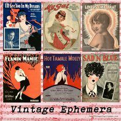 **FREE ViNTaGE DiGiTaL STaMPS** - ATC Mini Sheet Music Music Cover Ephemera...1920's ladies