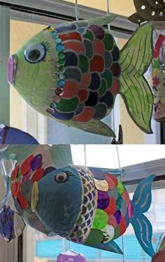 fish made from recycled soda bottles. WAY I WOULD DO IT:  cut liter bottle in half and staple shut with rounded cardboard inside. Cover rough edges with duct tape before giving to students. and then covering with scales, glitter, tissue paper and paper mache