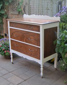 Here's a dainty maple dresser accented with white paint.  LA the idea i was saying for the table...think any color Even navy
