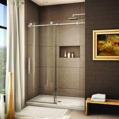 brushed frameless sliding shower