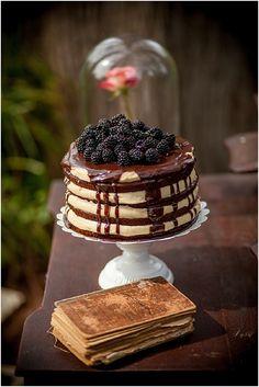 naked chocolate wedding cake  | Image by Ludivine B, read more http://www.frenchweddingstyle.com/inspirational-fairytale-wedding-dordogne-valley/