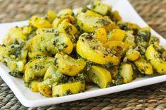 Roasted Yellow Summer Squash with Sage-Pecan Pesto      ~    Mmmmmmm