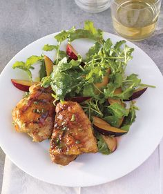 Grilled Honey-Mustard Chicken With Arugula and Plum Salad recipe