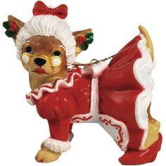 Aye Chihuahua Mrs Claus Chihuahua Ornament
