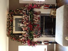 Our Nutcracker collection adorns the mantle each Christmas! Needlepoint stockings for Santa, myself, & all 6 kids!  Love remembering where these treasures all came from, many were gifts from special people! Traditional, Classic, Southern Christmas!